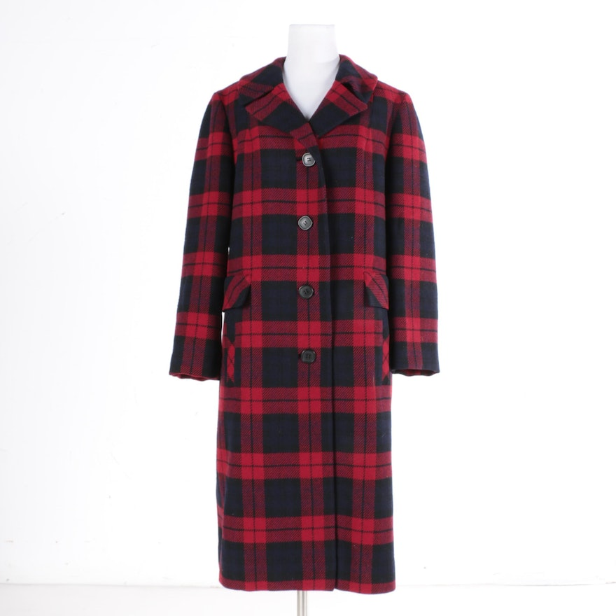 Women's Pendleton Plaid Wool Overcoat