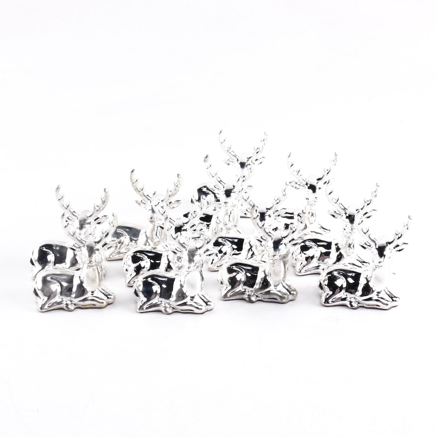 Silver Plate Reindeer Place Card Holders