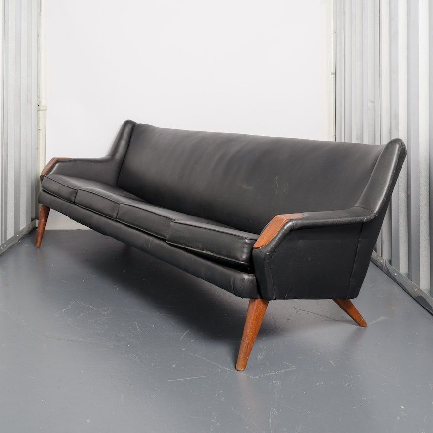 Vintage Mid Century Modern Black Leather Sofa