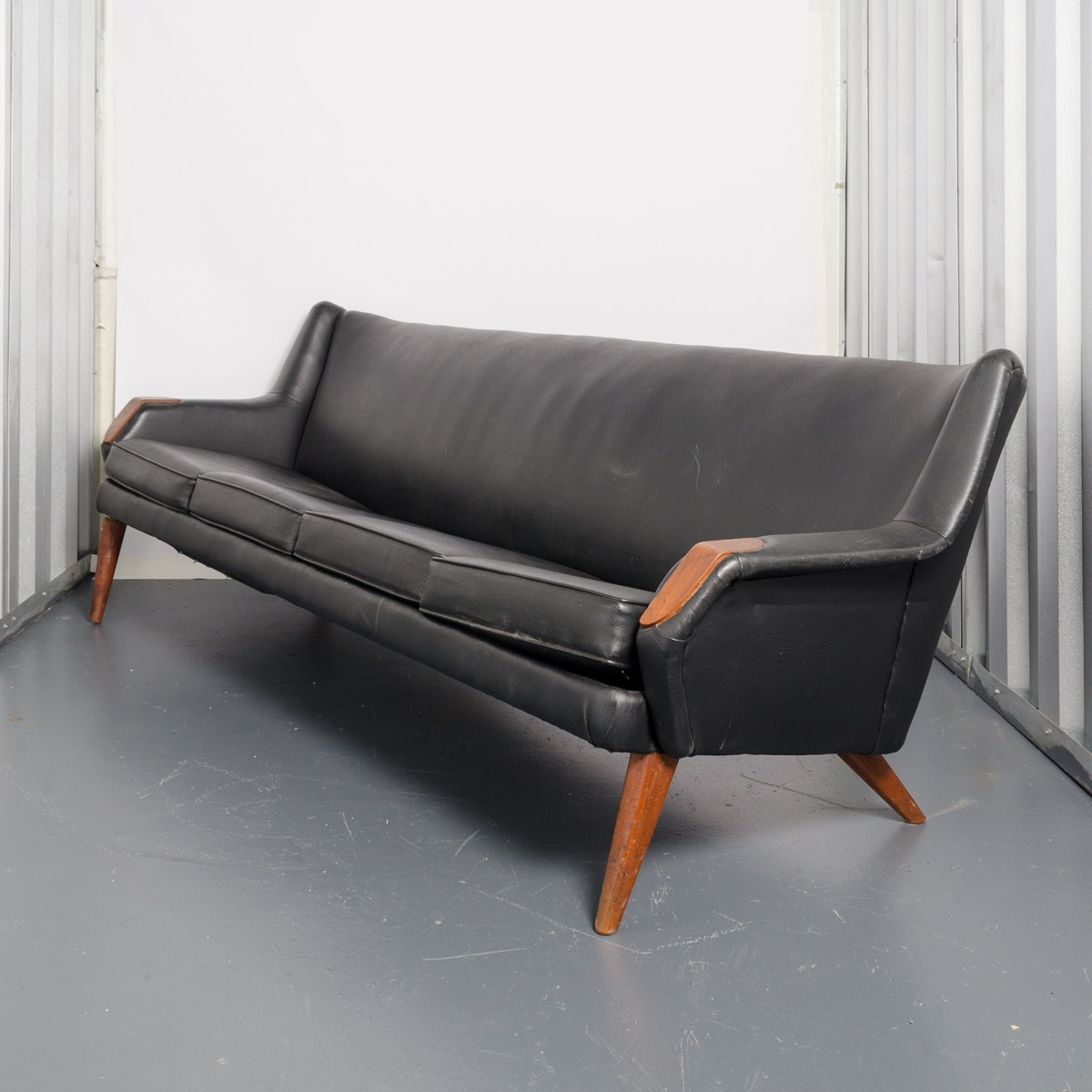 Vintage Mid Century Modern Black Leather Sofa ...