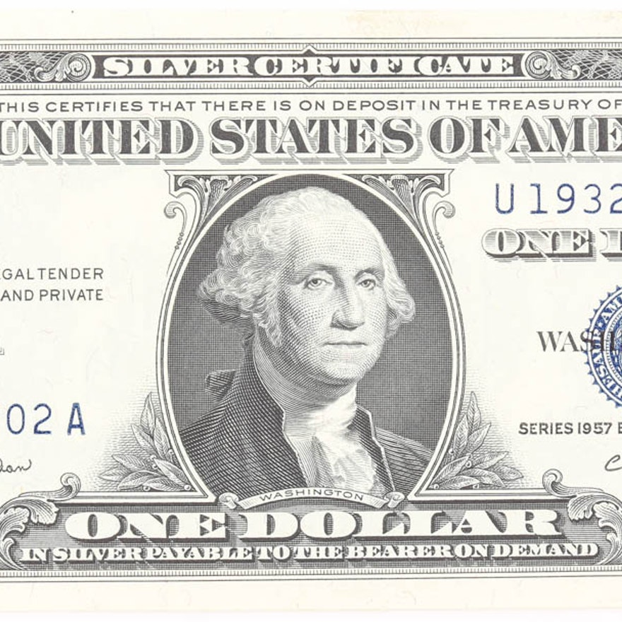 1957 B 1 Silver Certificate With Blue Seal Ebth