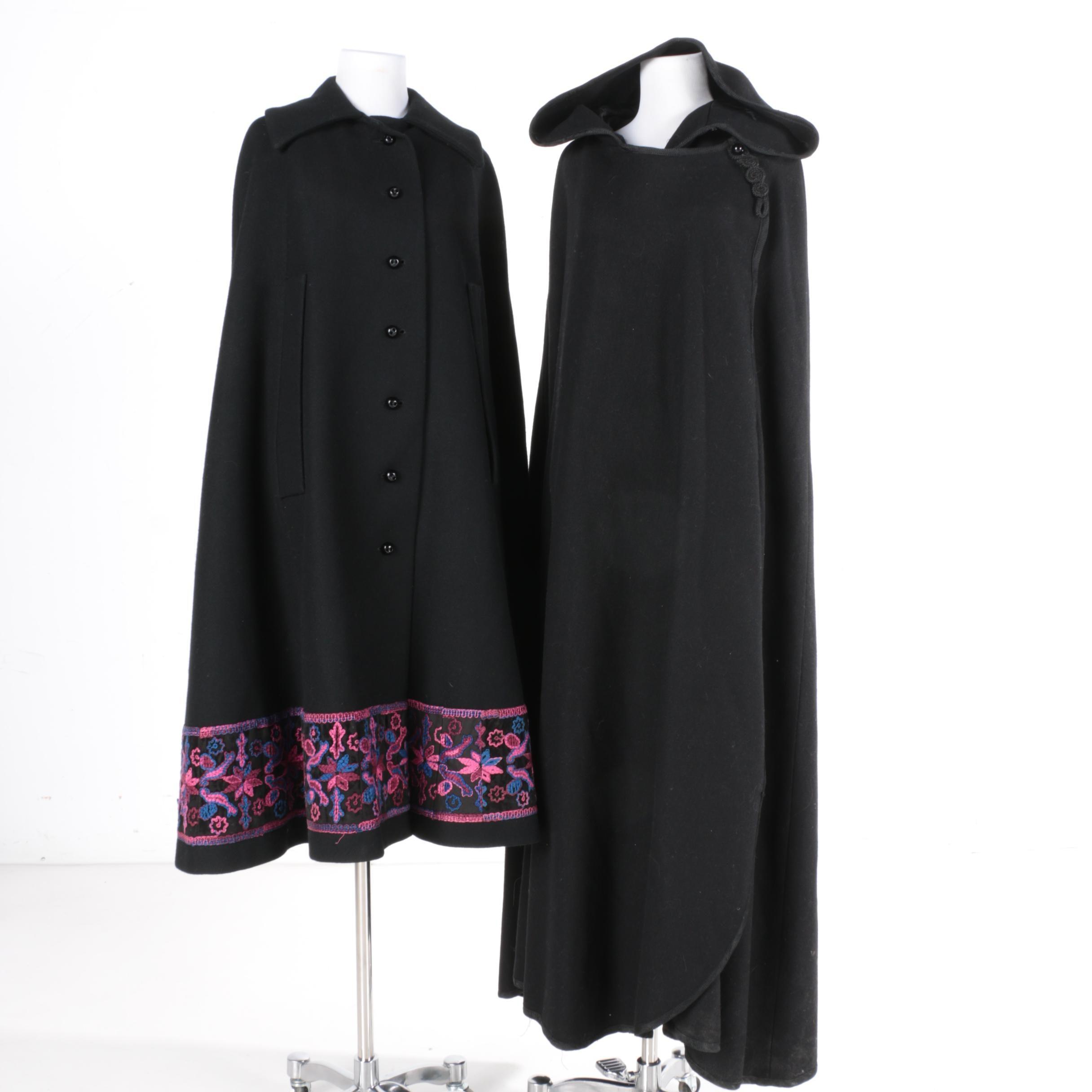 Women's Black Wool Capes