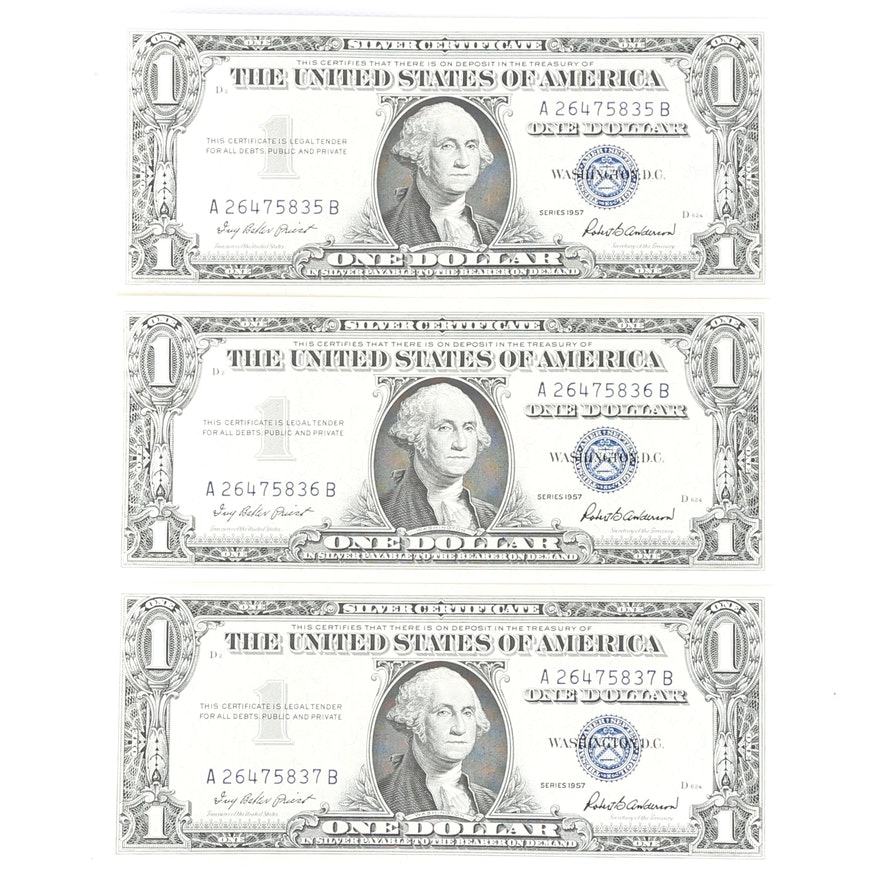 Consecutive Series 1957 One Dollar Silver Certificates : EBTH