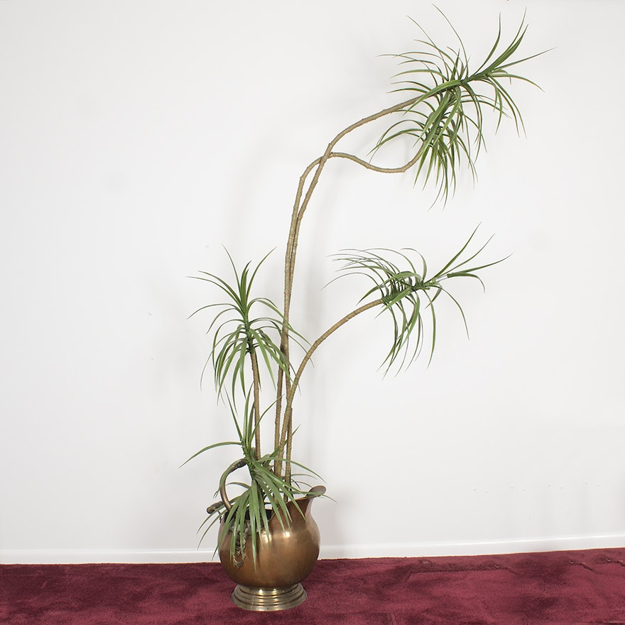Faux bamboo plant in brass planter ebth for Faux bambou plante