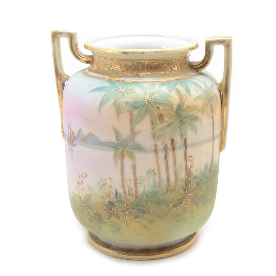 Antique Hand Painted Egyptian Revival Nippon Vase Ebth