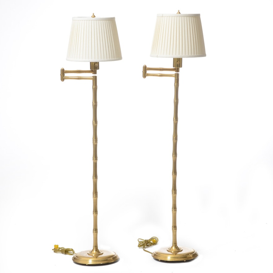 Pair of bamboo form articulating floor lamps ebth pair of bamboo form articulating floor lamps aloadofball Choice Image