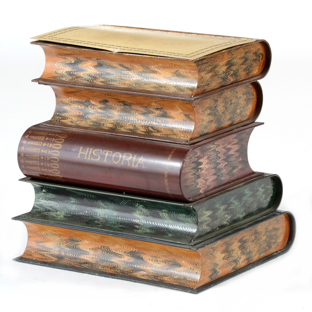 Italian Faux Stacked Book Side Table ...