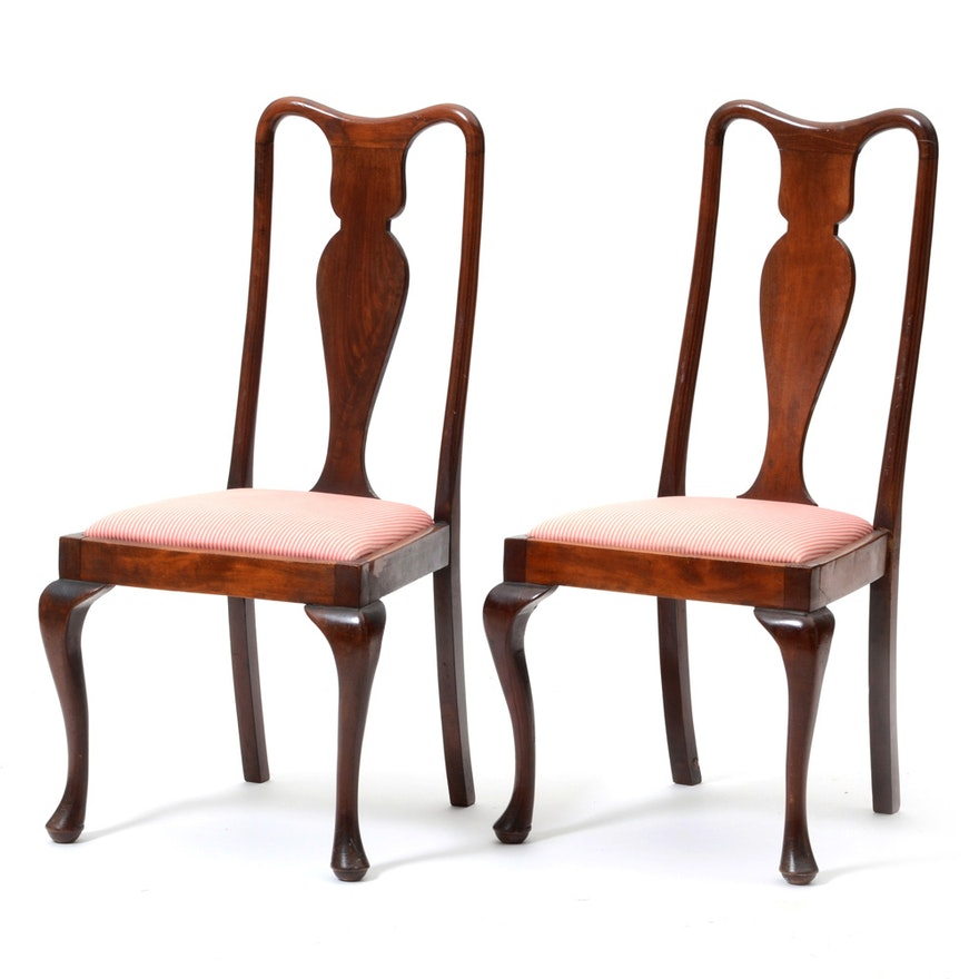 Pairing of Vintage Queen Anne Style Side Chairs ... - Pairing Of Vintage Queen Anne Style Side Chairs : EBTH