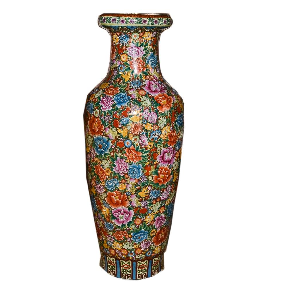 Oversized Chinese Inspired Porcelain Vase