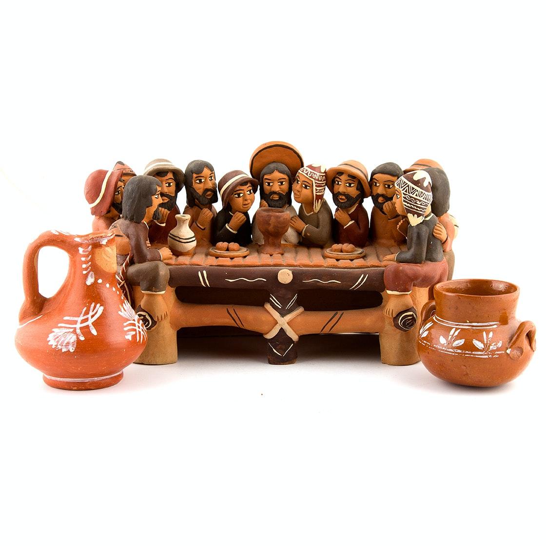 "Peruvian Pottery Including Folk Art Style ""Last Supper"""