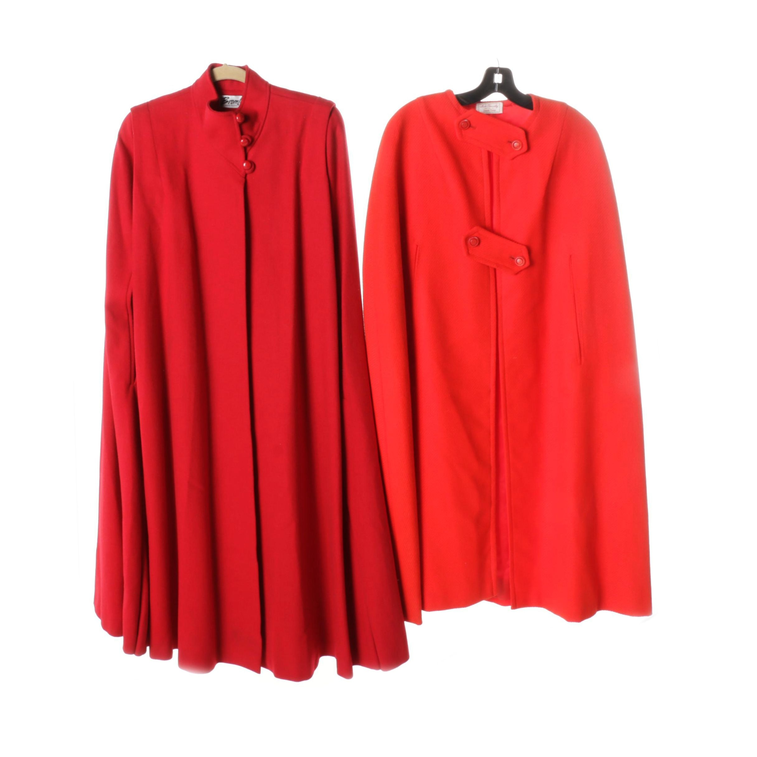 Women's Red Wool Capes Including Bromley
