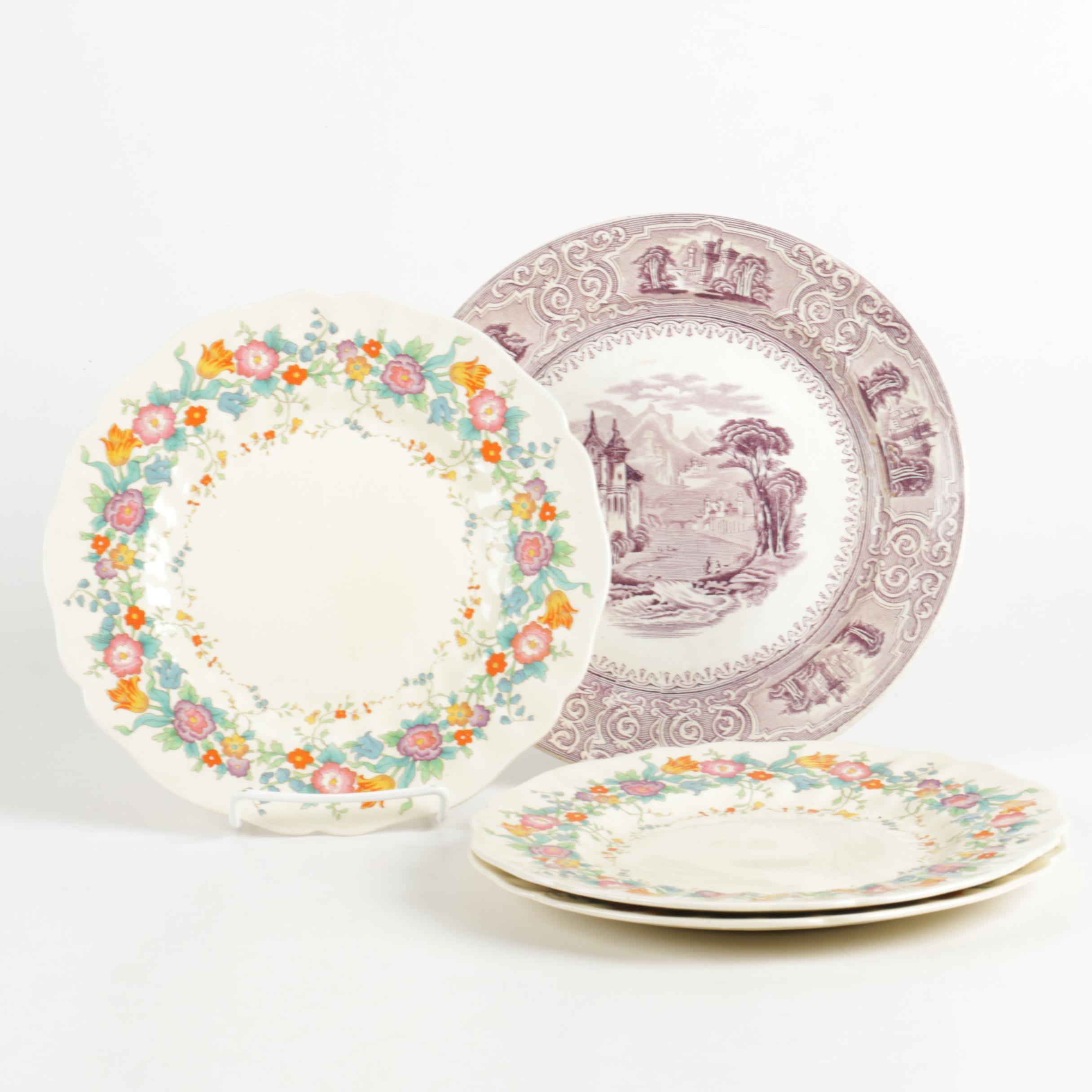Royal Doulton \ The Portland\  with Antique English Plates ... & Royal Doulton \