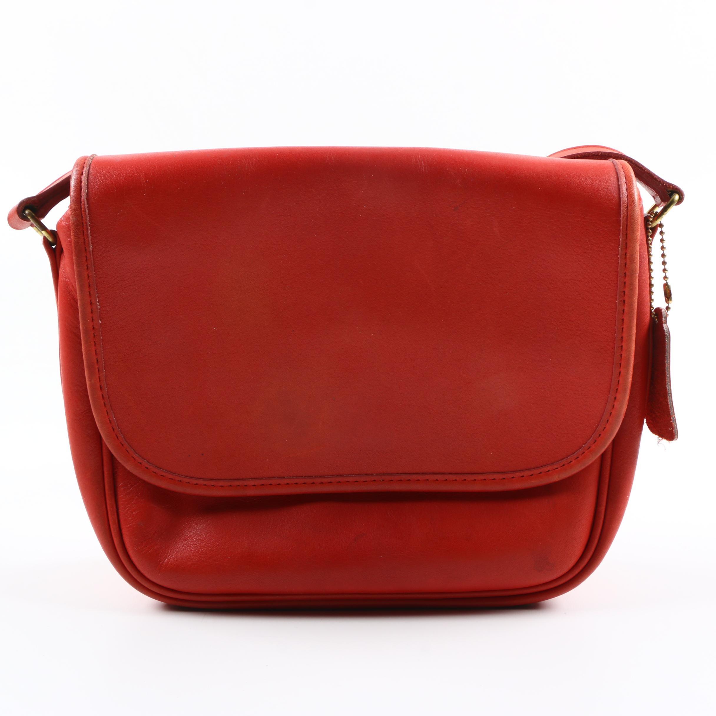 Vintage Coach Red Leather Shoulder Bag