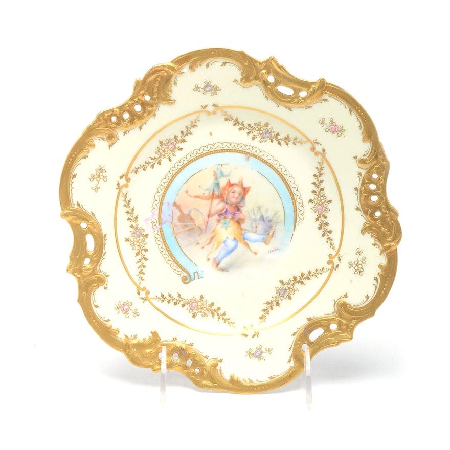 Dresden Plate Mal.Antique Dresden Cabinet Plate