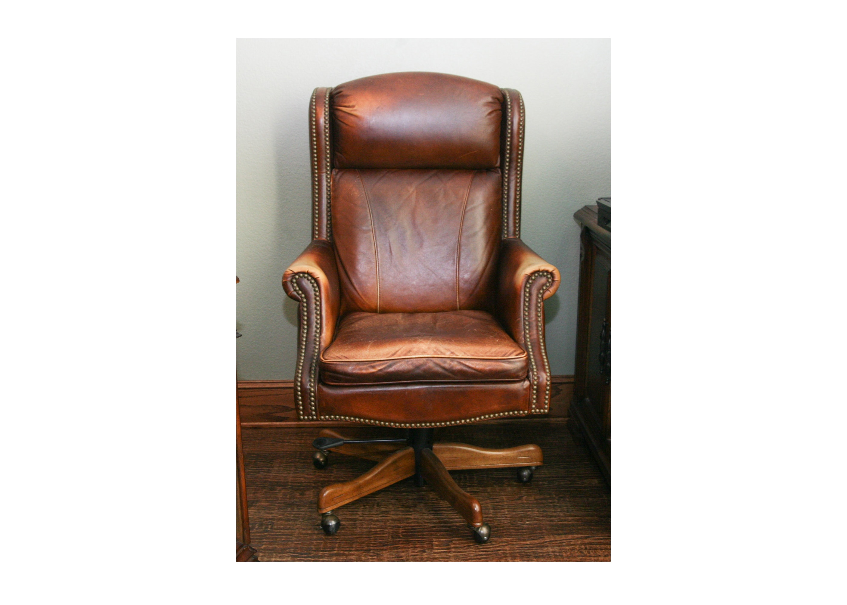 Marvelous Vintage Leather Rolling Office Chair ...