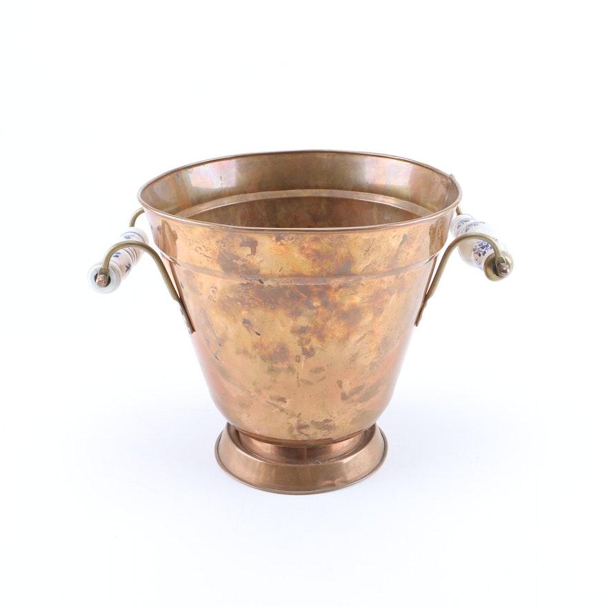 Metal Planter with Ceramic Handles : EBTH