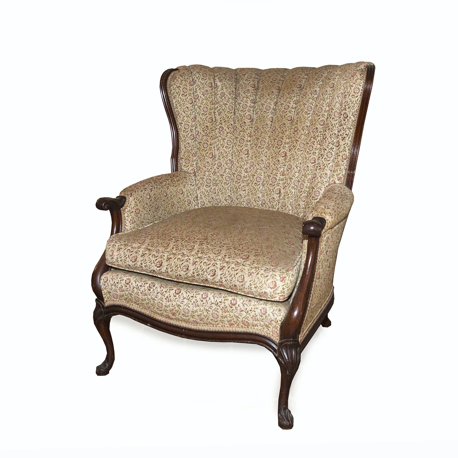 Vintage Queen Anne Style Channel Back Armchair