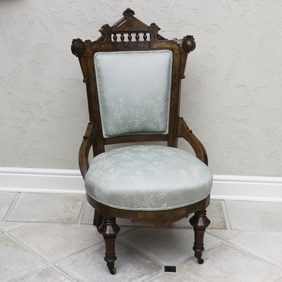 Antique Victorian Eastlake Walnut Parlor Chair - Vintage Chairs, Antique Chairs And Retro Chairs Auction In