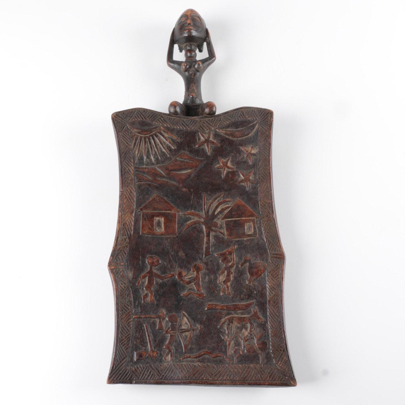 Luba style carved wood memory panel ebth