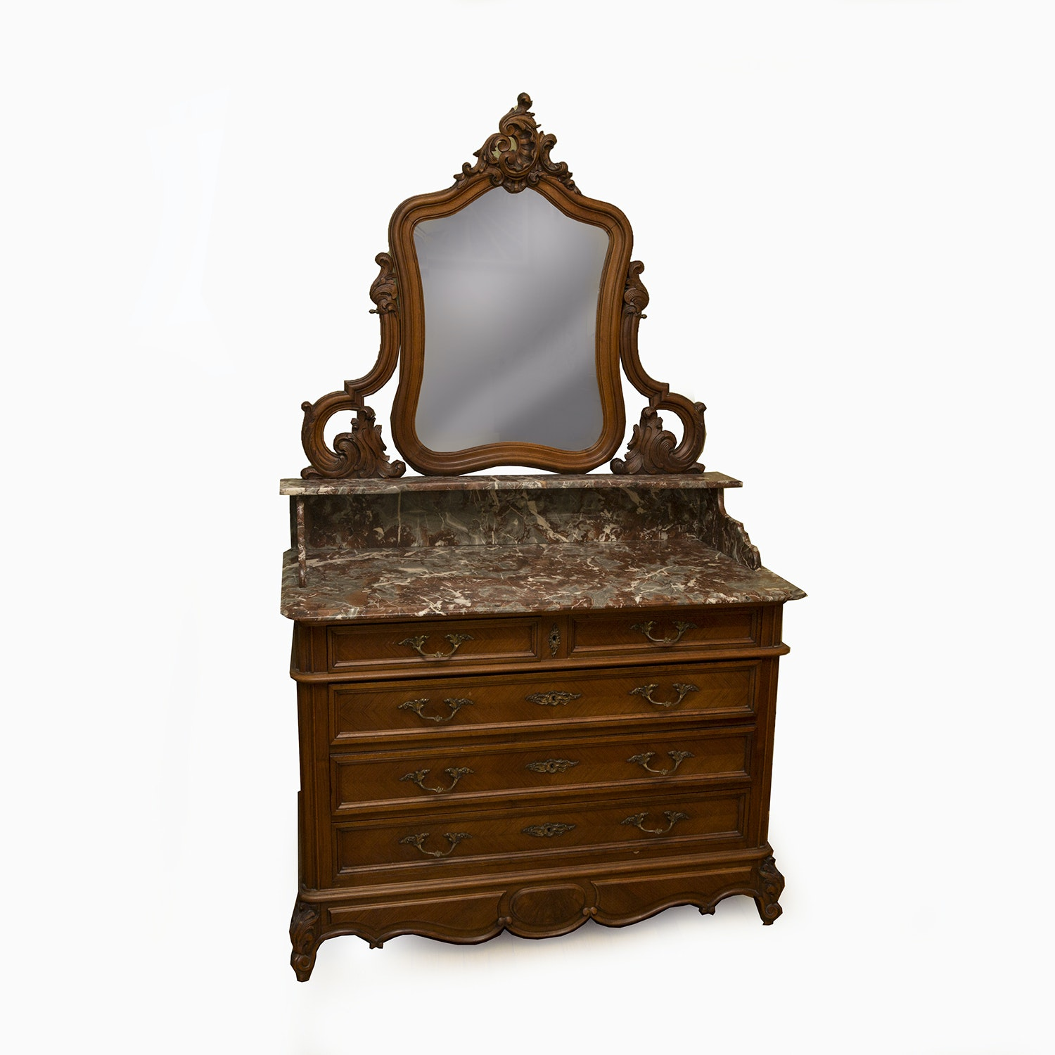 Antique French Louis XV Style Marble Top Dresser with Mirror