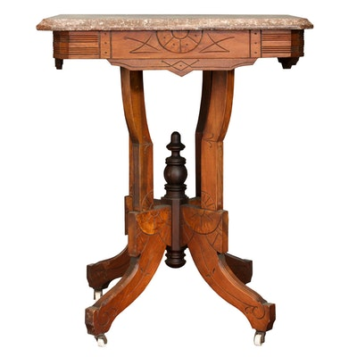 Antique Eastlake Walnut and Marble Parlor Table