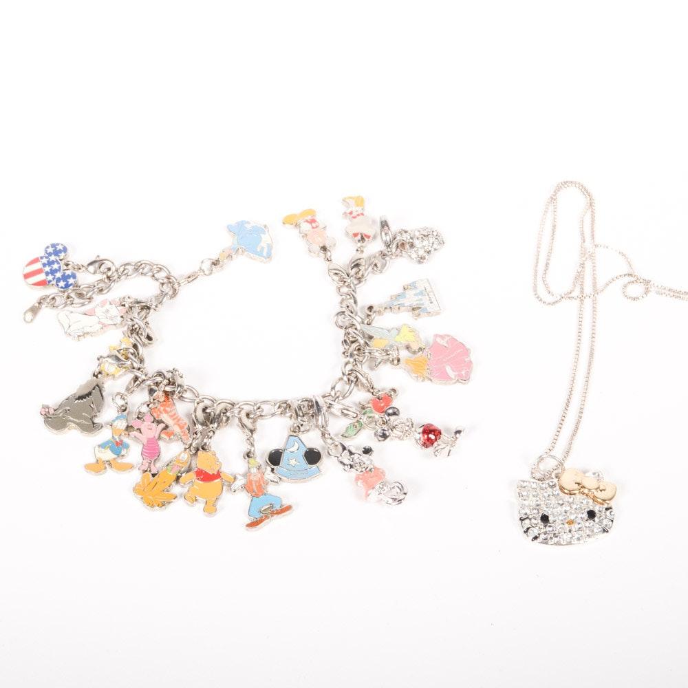 Walt Disney Charm Bracelet And Hello Kitty Charm On Sterling Silver