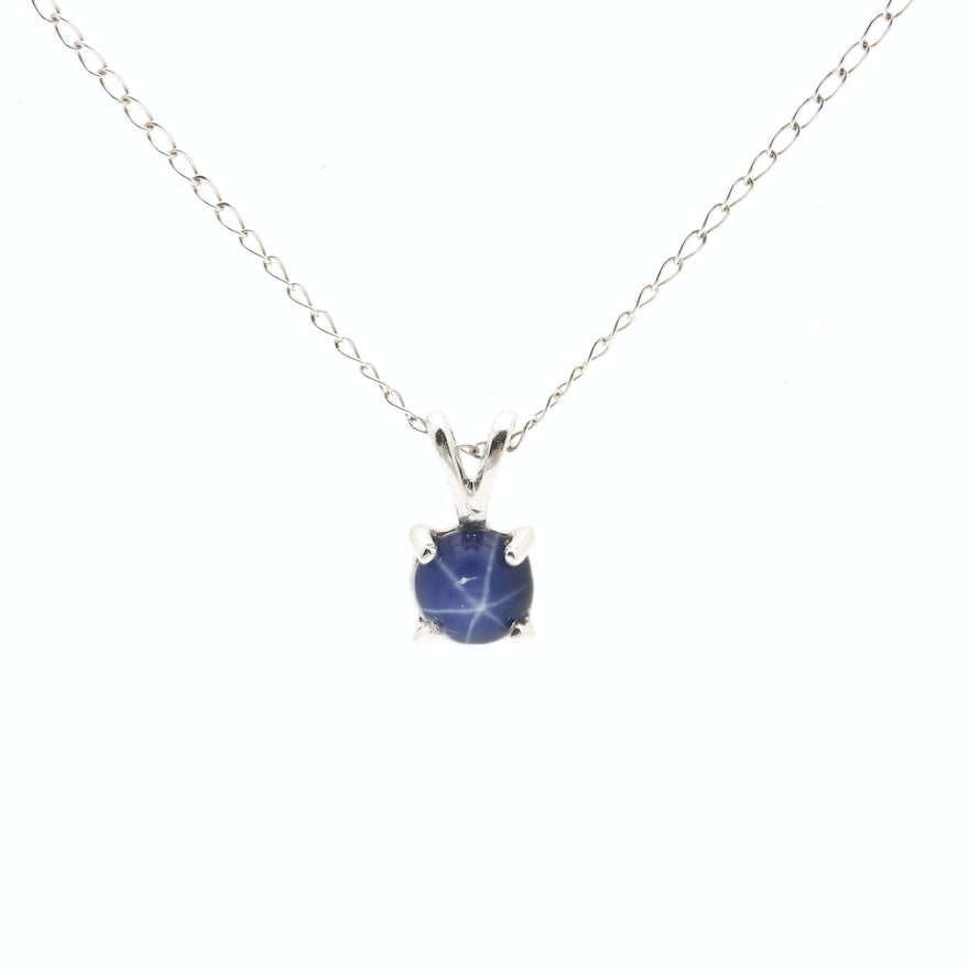 14k white gold star sapphire pendant necklace ebth 14k white gold star sapphire pendant necklace mozeypictures Choice Image
