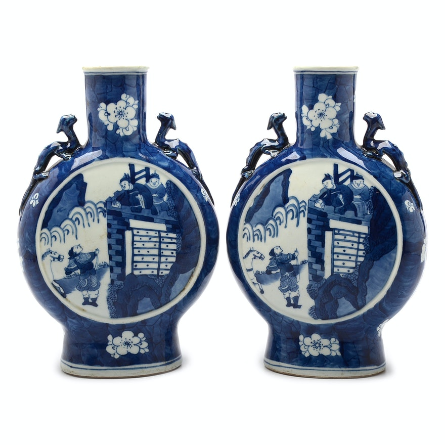 Antique Chinese Porcelain Flask Vases Ebth