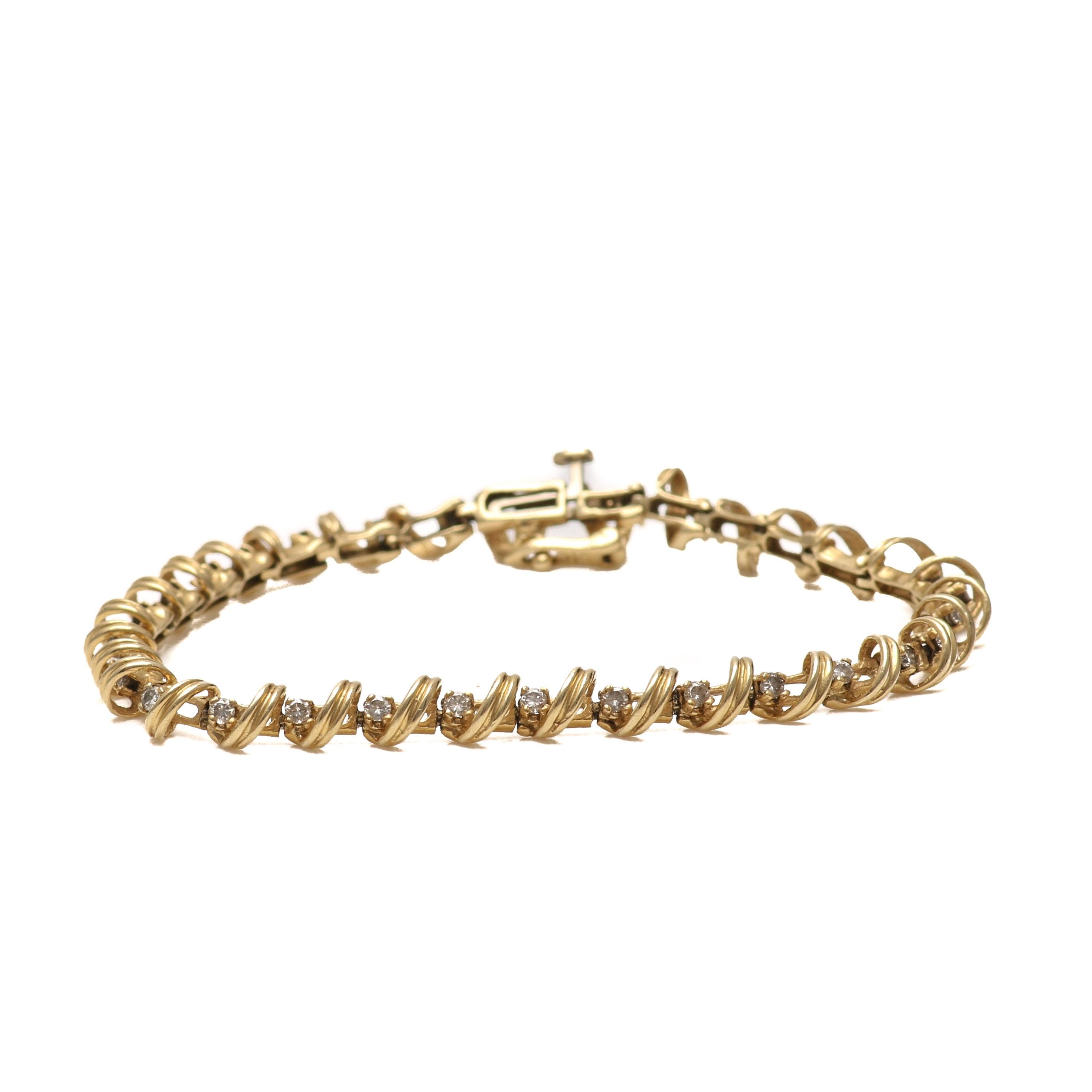 14K Yellow Gold 0.97 CTW Diamond Bracelet