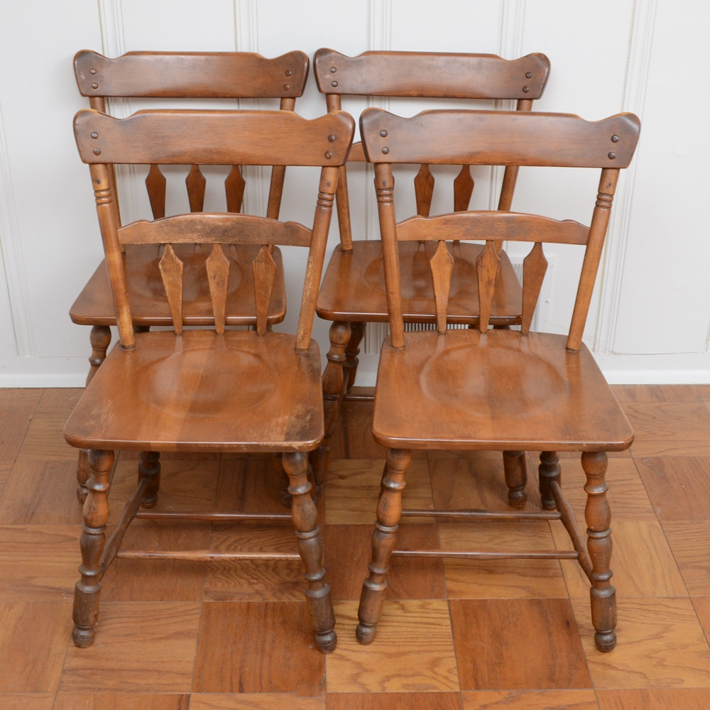 Maple Kitchen Table With Chair And Bench Ebth: Vintage Maple Dining Chairs By Temple Stuart : EBTH
