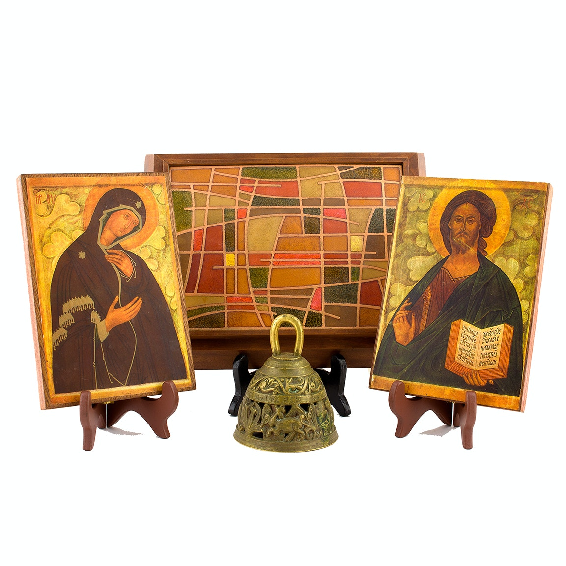 Vintage Religious Art and Framed Glass Mosaic