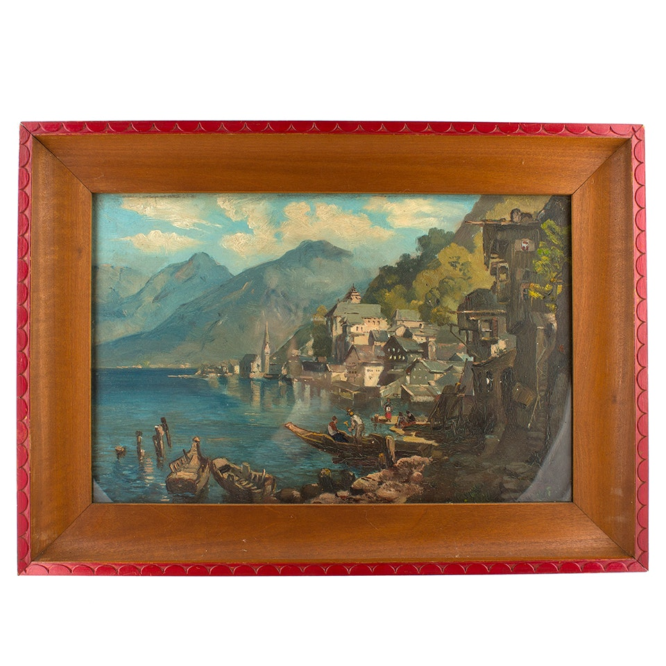 Oil Painting on Canvas of a Harbor Scene
