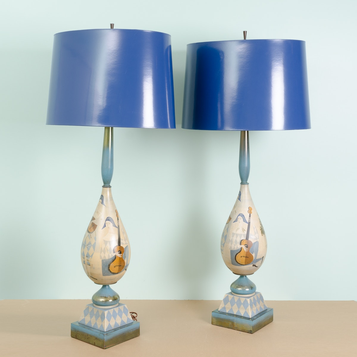 Mid Century Modern Harlequin Musician Table Lamps