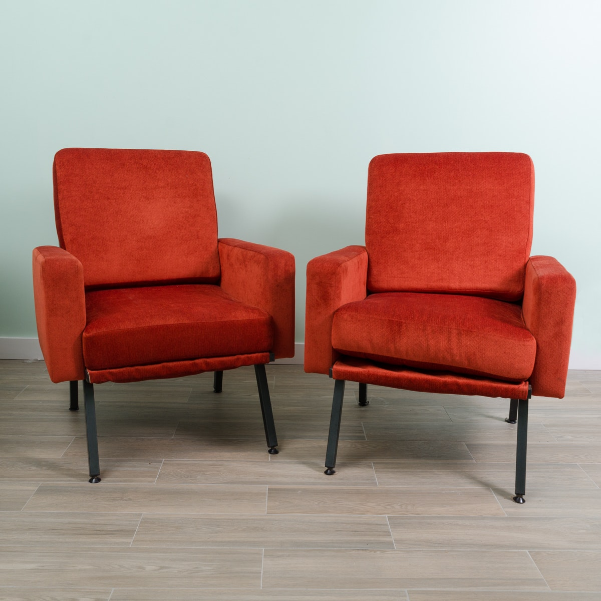 Mid Century Modern Style Red Upholstered Armchairs