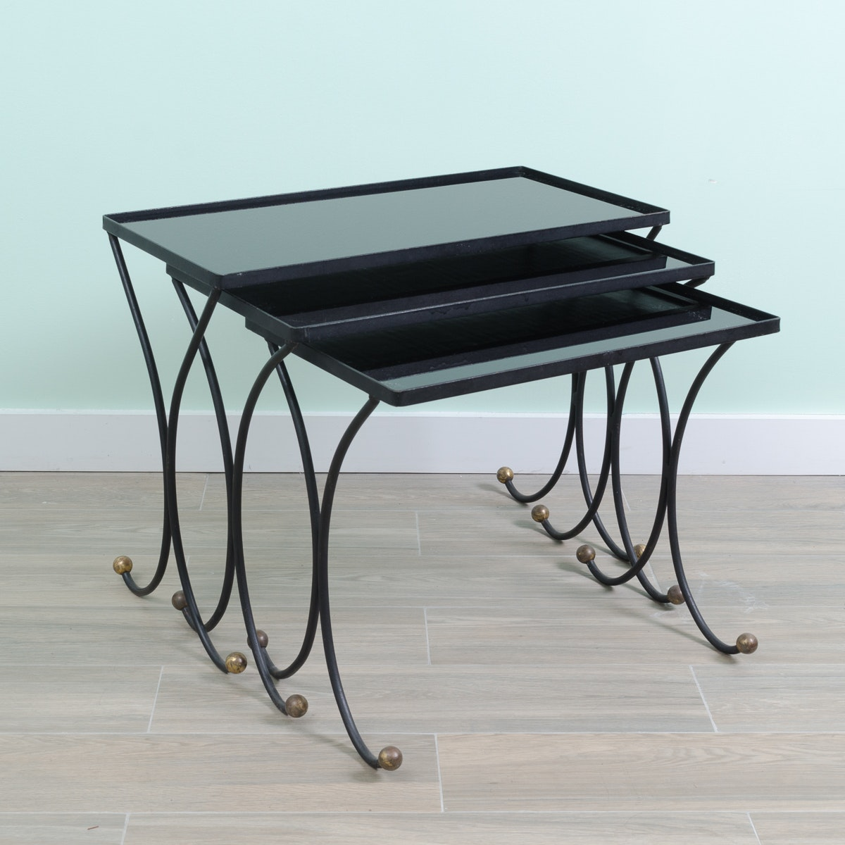 Mid Century Modern Metal and Dark Glass Nesting Tables