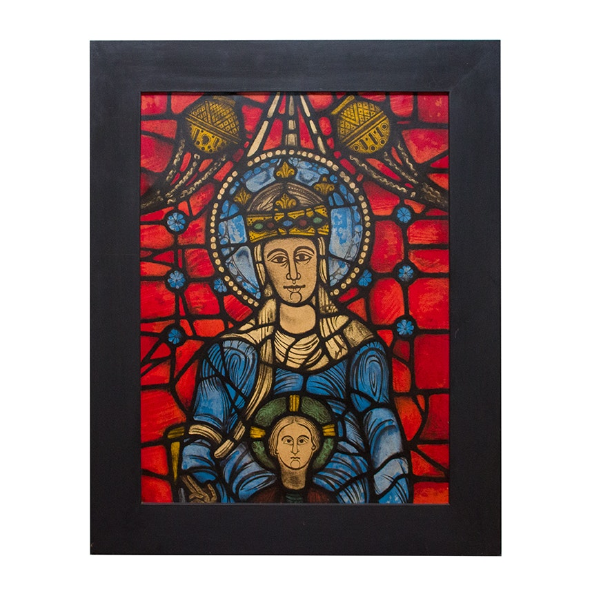 Large Framed Offset Lithograph of Madonna and Child