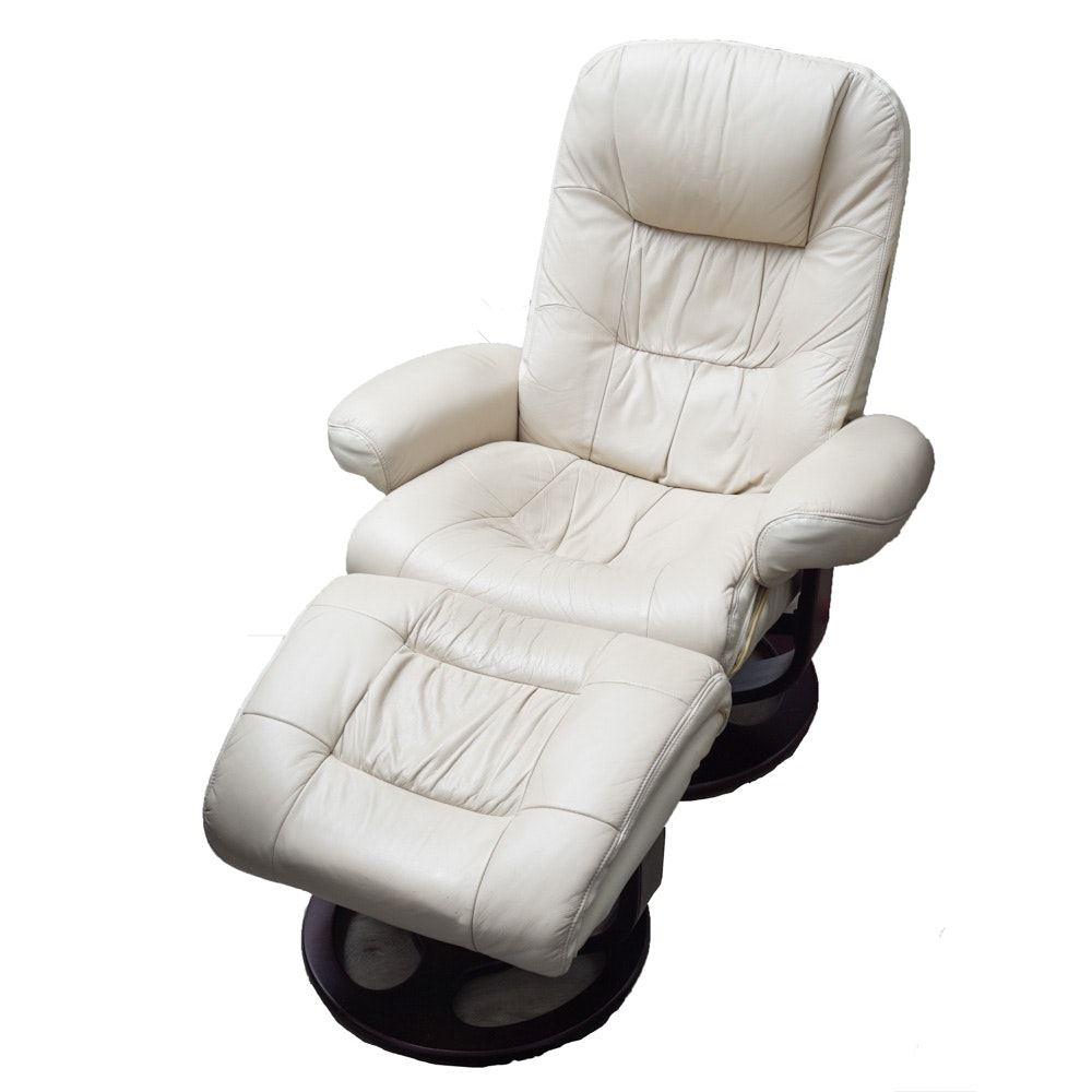 Faux Leather Recliner Chair and Ottoman by Lane Furniture