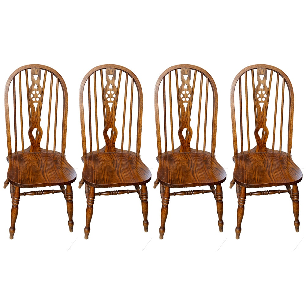 Delicieux Set Of Windsor Style Dining Chairs By H.W. Hull U0026 ...