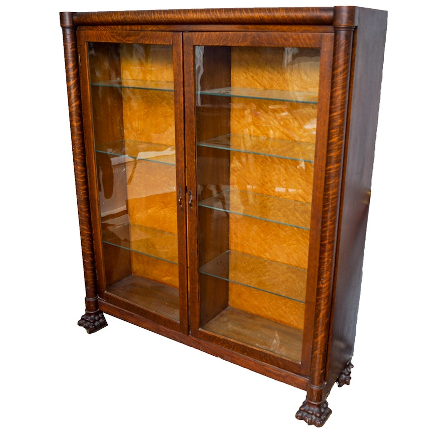 Antique Oak Display Cabinet ... - Antique Oak Display Cabinet : EBTH