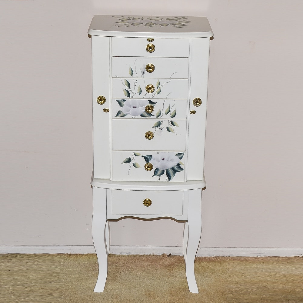 White Painted Wooden Jewelry Armoire