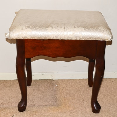 Queen Anne Style Footstool - Online Furniture Auctions Vintage Furniture Auction Antique