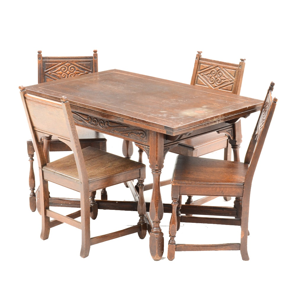 1920s Jacobean Revival Oak Dining Table With Chairs ...