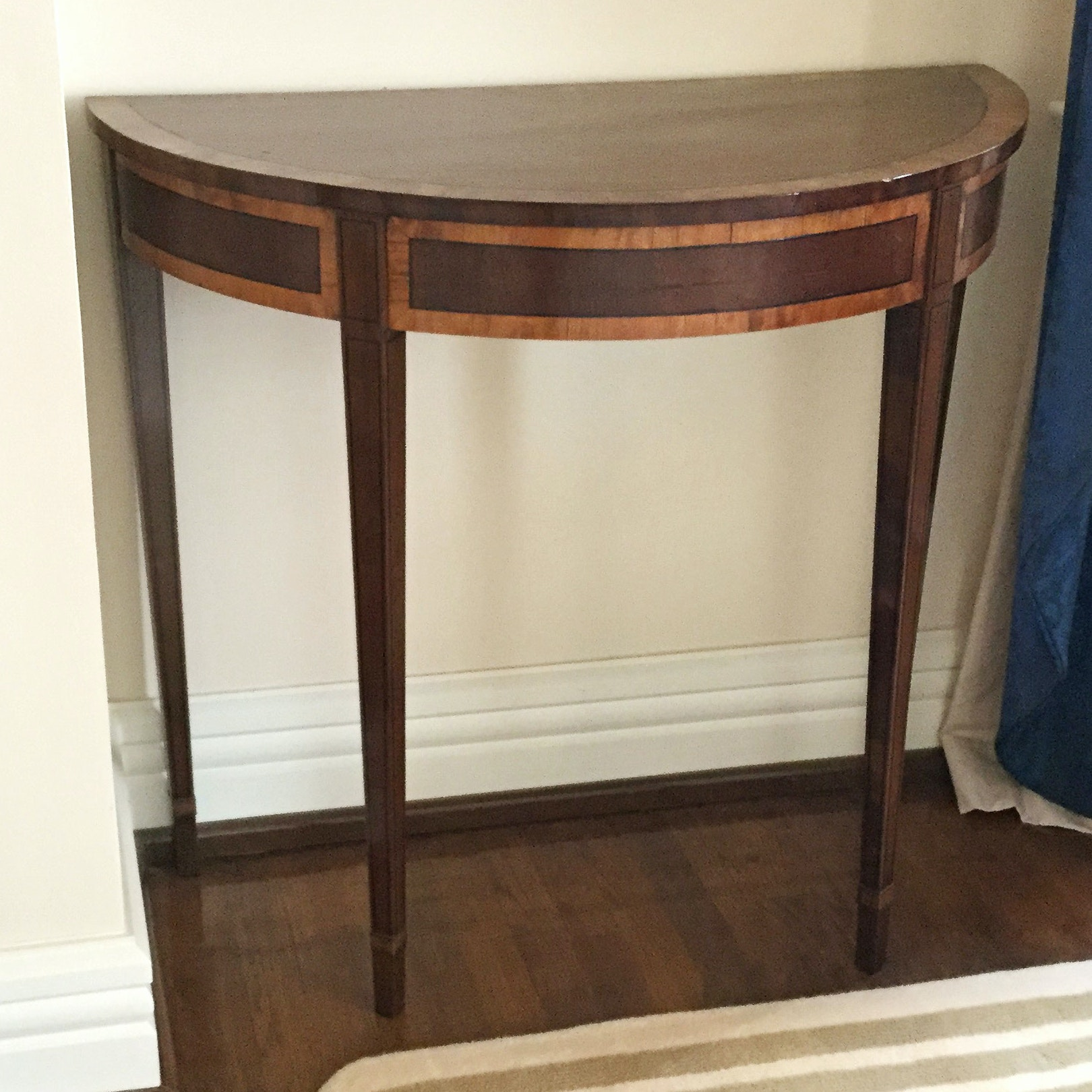 Antique George III Style Mahogany Demilune Table ...
