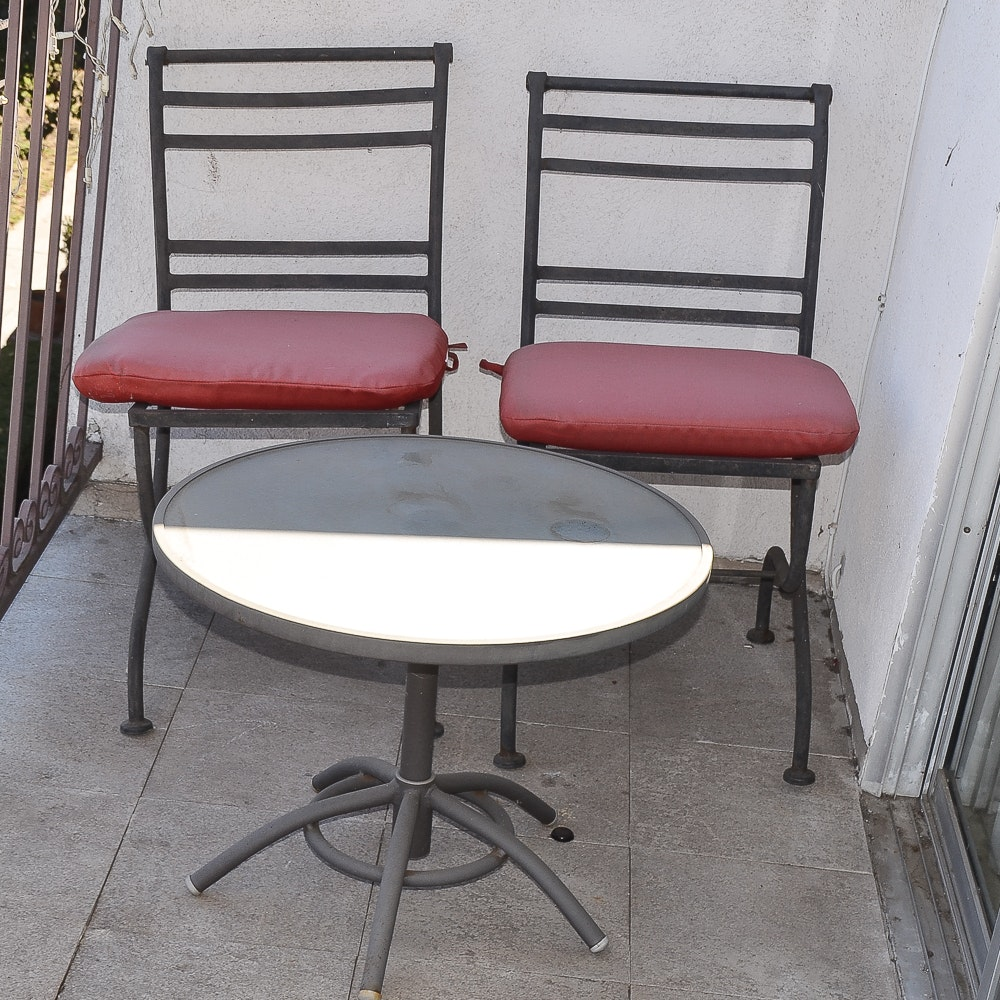 Patio Bistro Chairs and Side Table