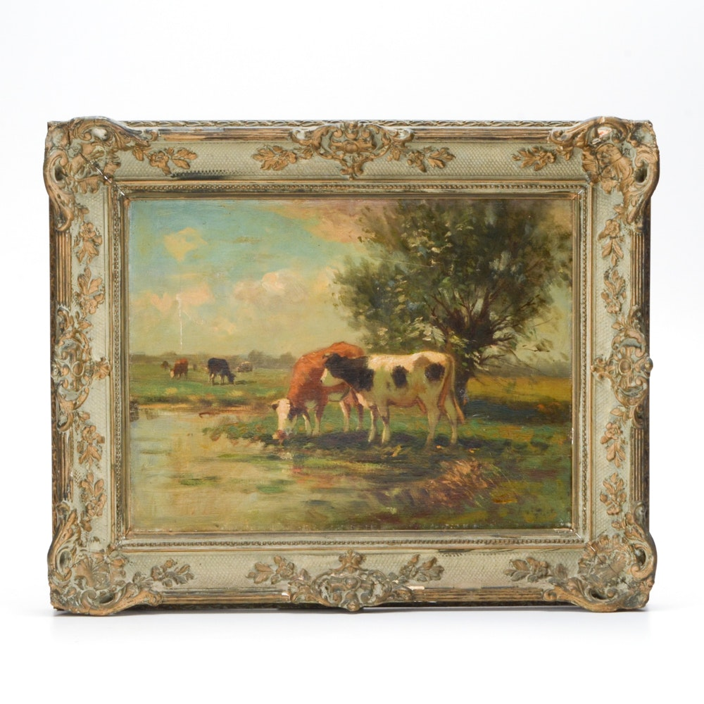 Antique Oil Painting of a Bucolic Landscape