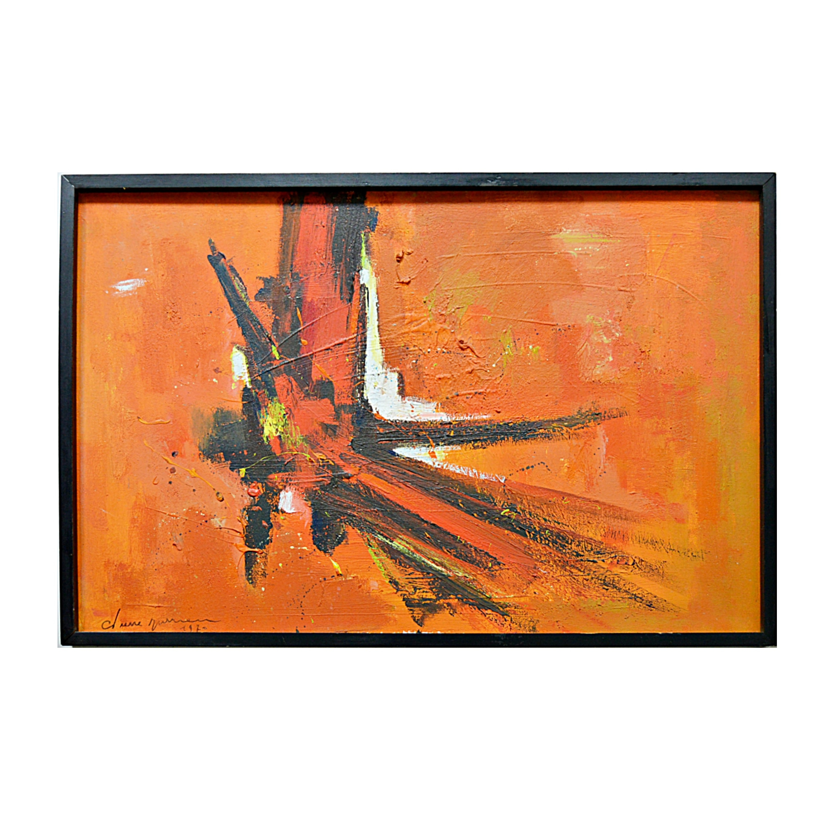 1970s Original Signed Abstract Expressionistic Oil on Canvas