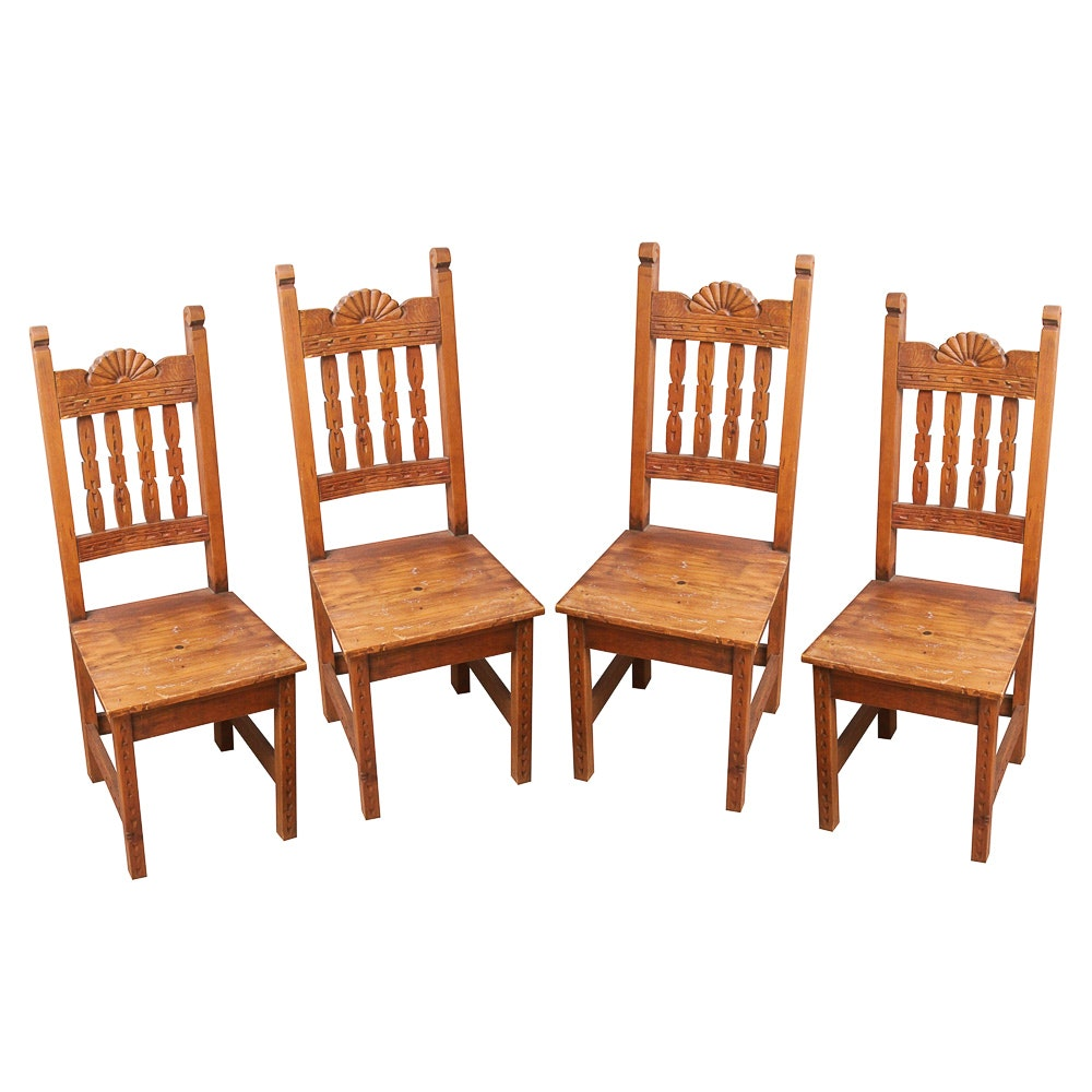 Four Carved Mexican Dining Chairs