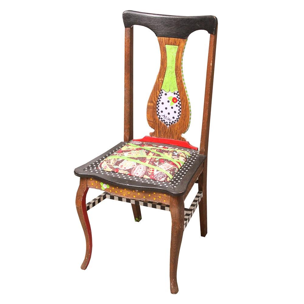 Vintage Folk Art Oak Side Chair