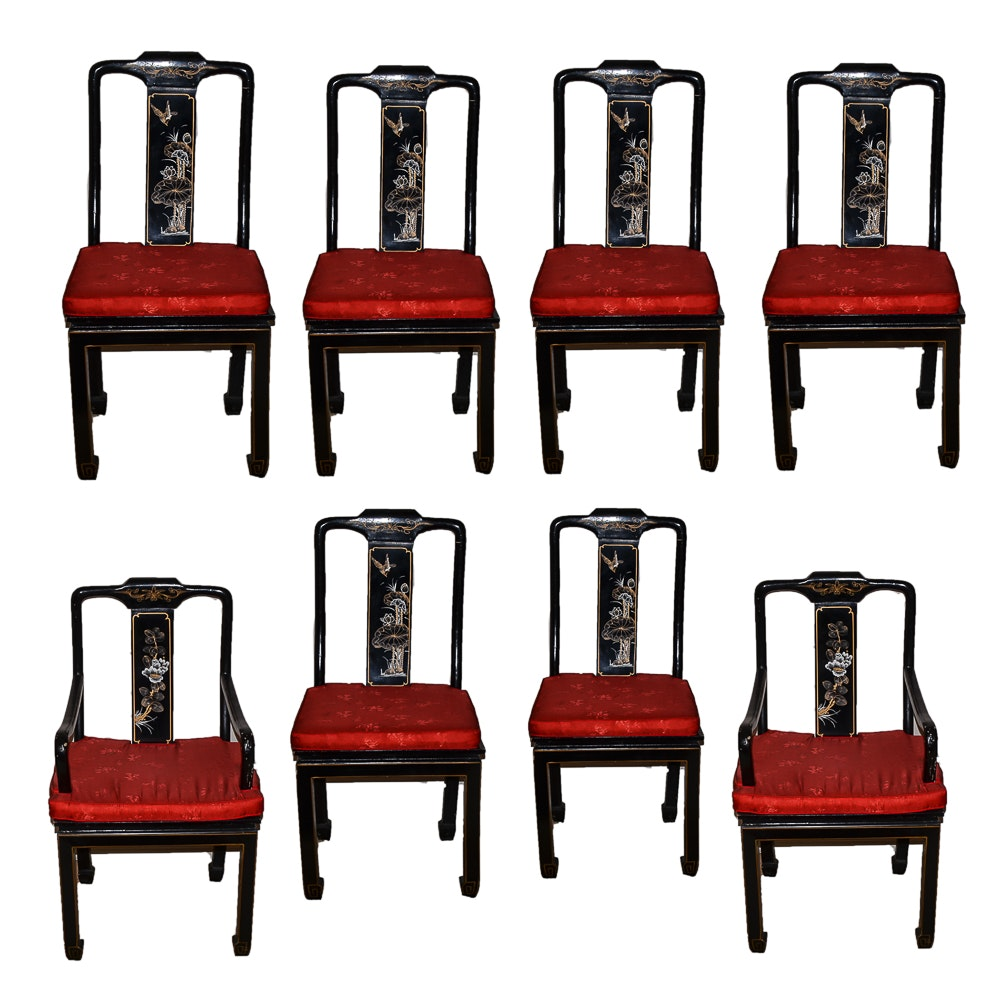Set of 8 Chinese Black Lacquered Dining Chairs