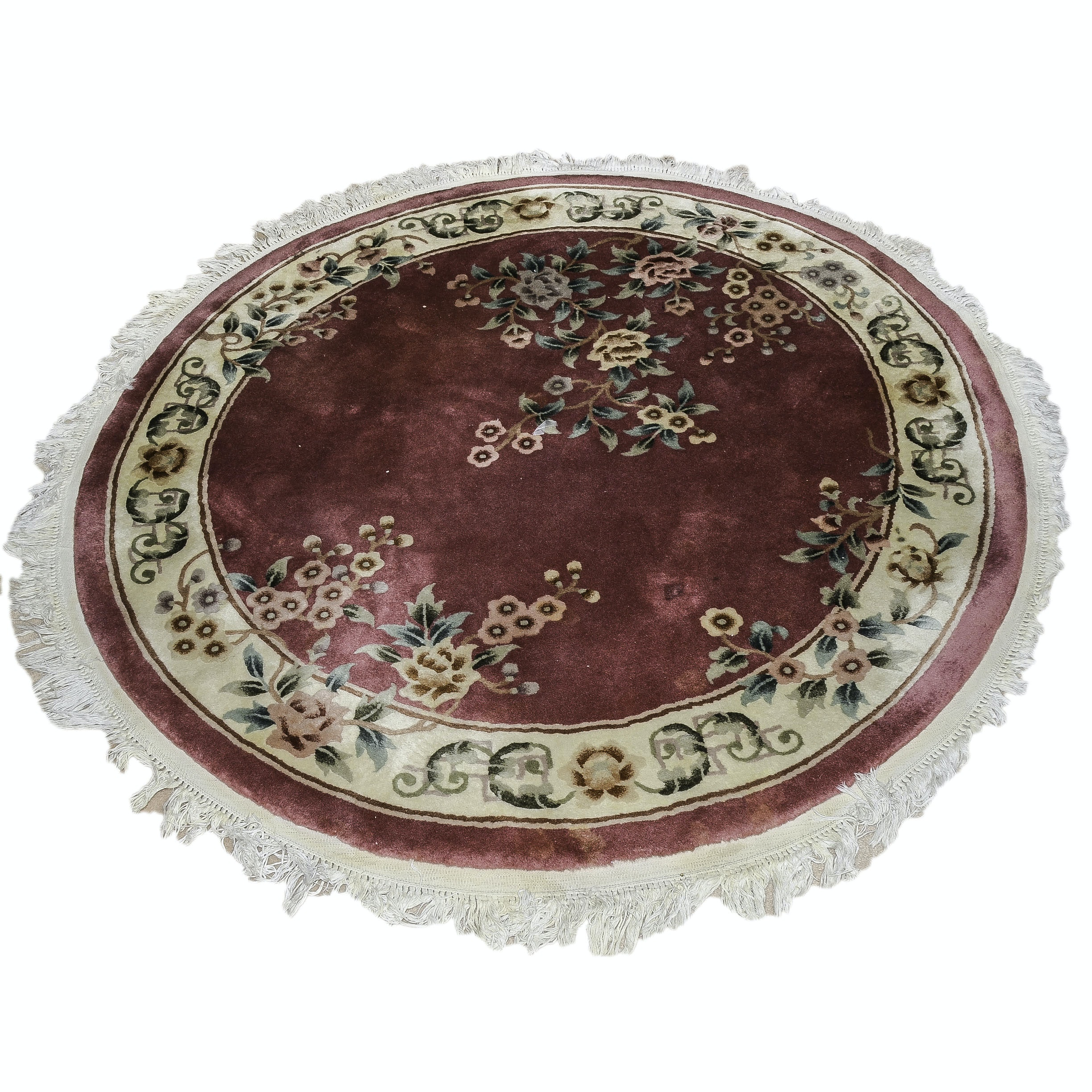 Hand-Knotted Chinese Floral Carved Wool Round Area Rug